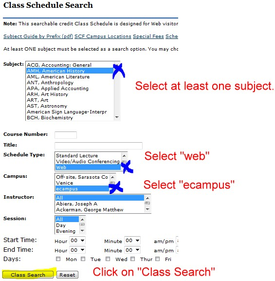 Instructions to select course in course search