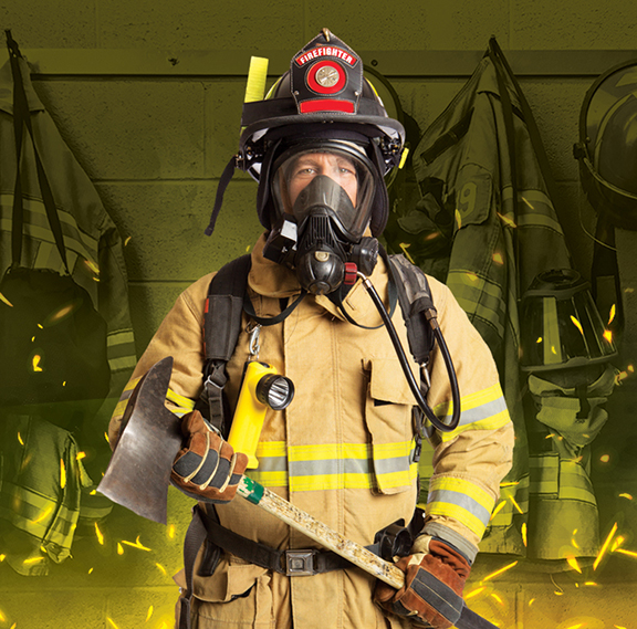 Fire Science Hero Image of Firefighter with Safety Gear and Axe
