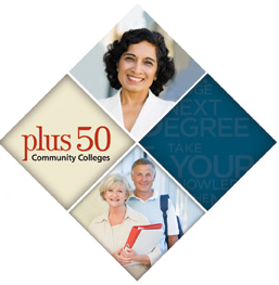 Collage of people smiling - text that reads: Plus 50 Community Colleges